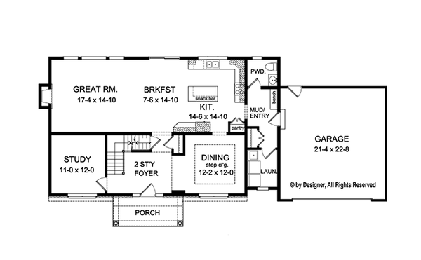 Traditional Floor Plan - Main Floor Plan Plan #1010-131