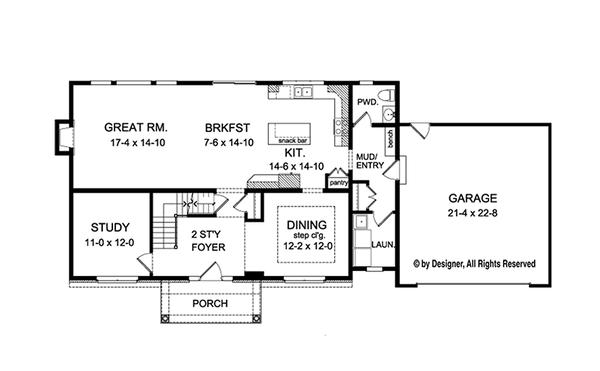 House Plan Design - Traditional Floor Plan - Main Floor Plan #1010-131