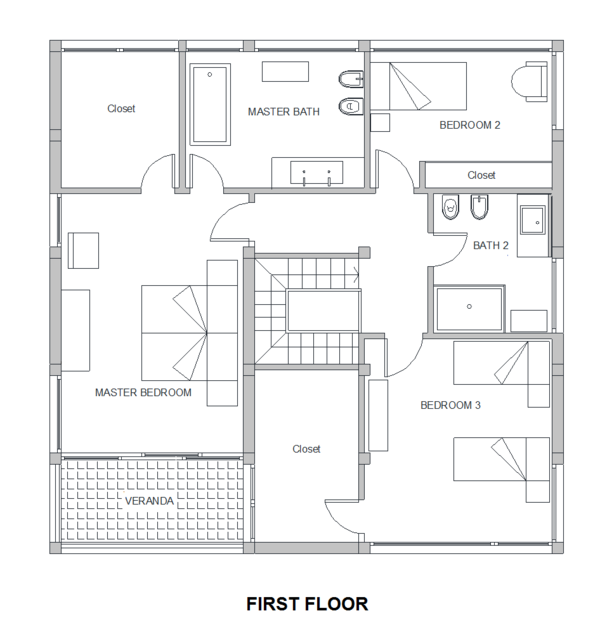 Modern Floor Plan - Upper Floor Plan Plan #542-4
