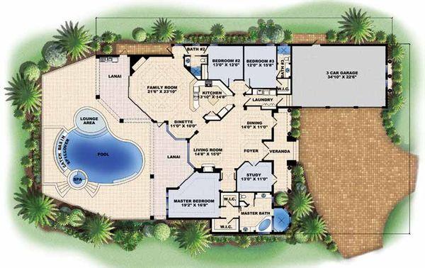 Mediterranean Floor Plan - Main Floor Plan Plan #1017-15