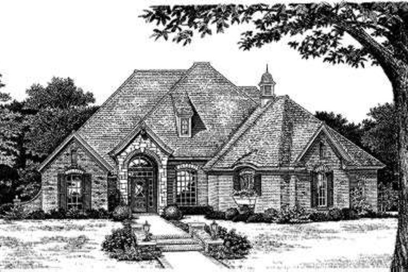 European Style House Plan - 4 Beds 3 Baths 2526 Sq/Ft Plan #310-160 Exterior - Front Elevation