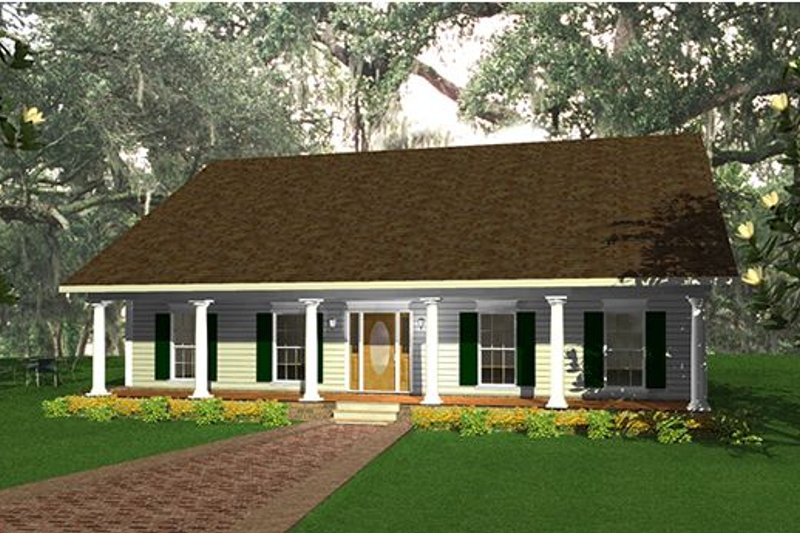 Country Style House Plan - 3 Beds 2 Baths 2052 Sq/Ft Plan #44-139 Exterior - Front Elevation