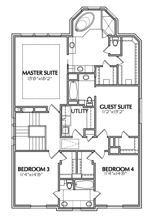 Traditional Floor Plan - Upper Floor Plan Plan #1021-11