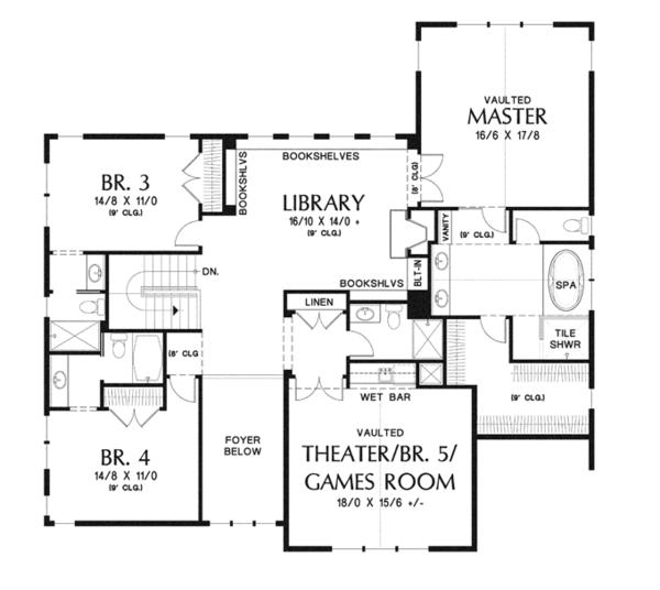 Craftsman Floor Plan - Upper Floor Plan Plan #48-905