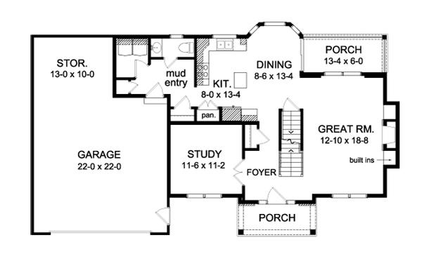 Colonial Floor Plan - Main Floor Plan Plan #1010-73