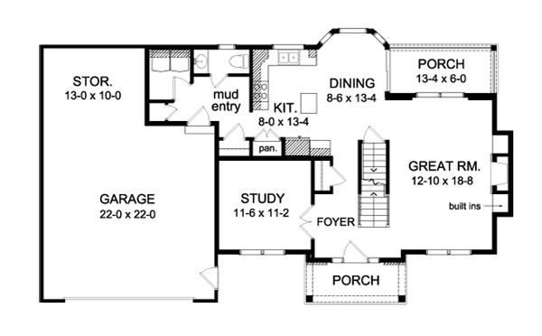 Colonial Floor Plan - Main Floor Plan Plan #1010-73