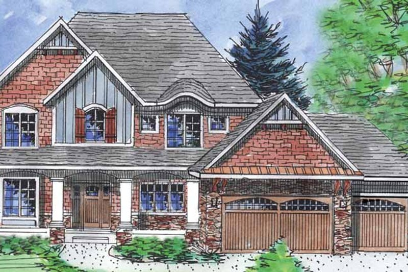Country Exterior - Front Elevation Plan #320-1474