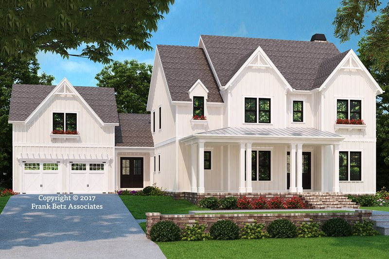 Farmhouse Style House Plan - 5 Beds 4 Baths 3210 Sq/Ft Plan #927-992 Exterior - Front Elevation