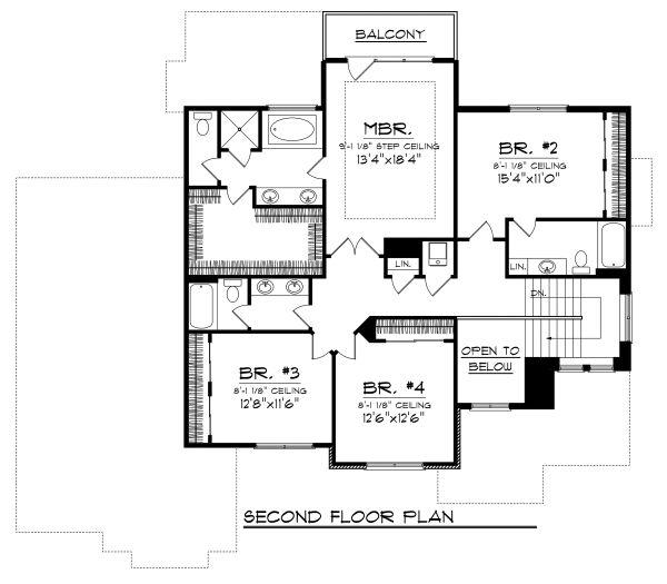 Craftsman Floor Plan - Upper Floor Plan Plan #70-1125