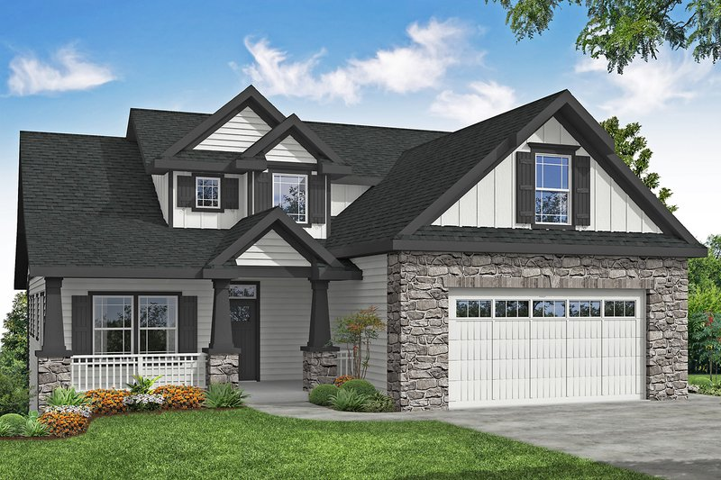 Architectural House Design - Craftsman Exterior - Front Elevation Plan #124-1201