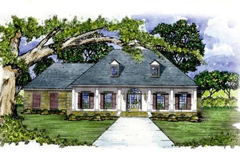 House Design - Southern Exterior - Front Elevation Plan #36-195