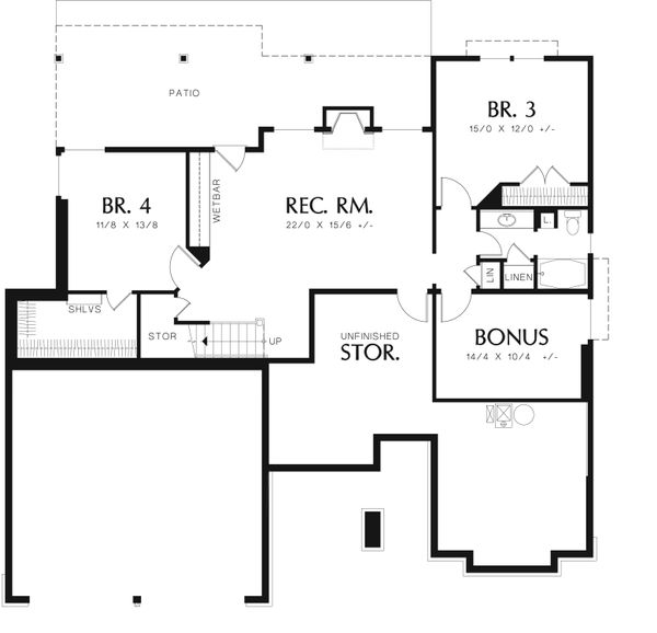 Craftsman Floor Plan - Lower Floor Plan Plan #48-601