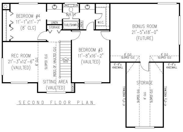 Country Floor Plan - Upper Floor Plan Plan #11-223