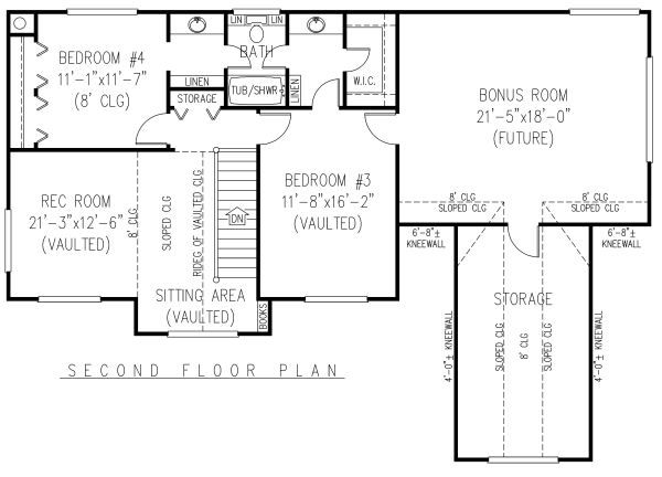 Country Floor Plan - Upper Floor Plan Plan #11-223