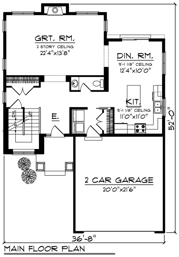 Craftsman Floor Plan - Main Floor Plan Plan #70-1211