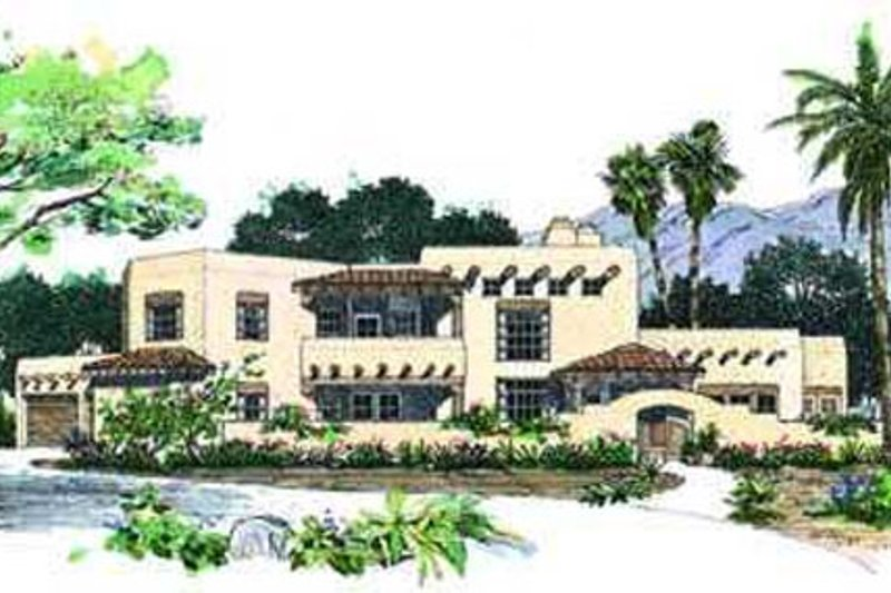 Adobe / Southwestern Style House Plan - 4 Beds 3 Baths 3328 Sq/Ft Plan #72-181 Exterior - Front Elevation