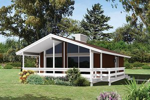 Cabin Exterior - Front Elevation Plan #57-494