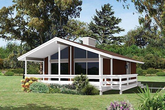 Cabin Exterior - Front Elevation Plan #57-494