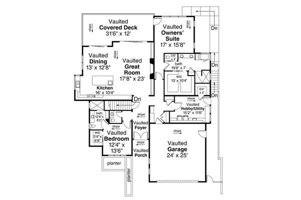 House Plan Design - Contemporary Floor Plan - Main Floor Plan #124-1111