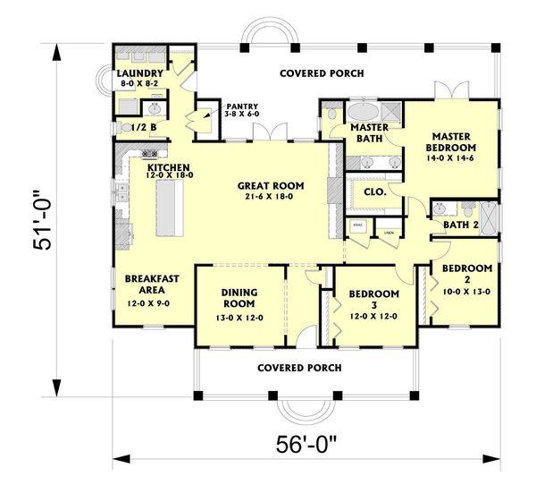 Southern Floor Plan - Main Floor Plan Plan #44-189
