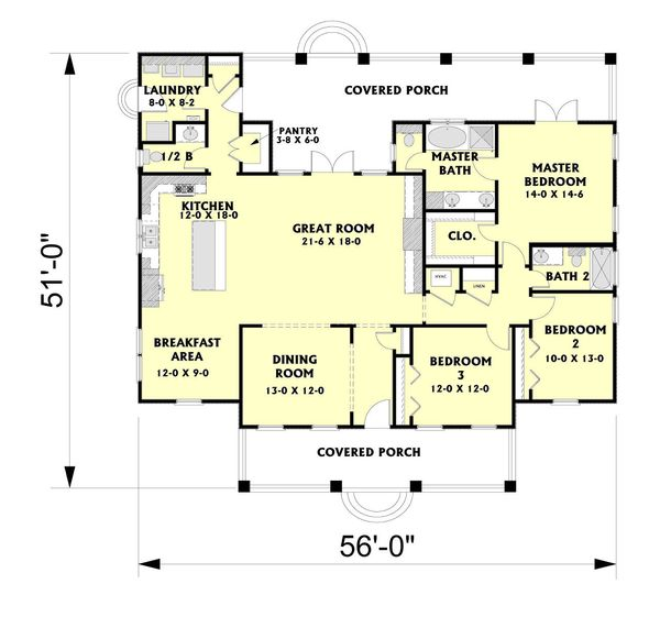 Southern Floor Plan - Main Floor Plan Plan #44-189