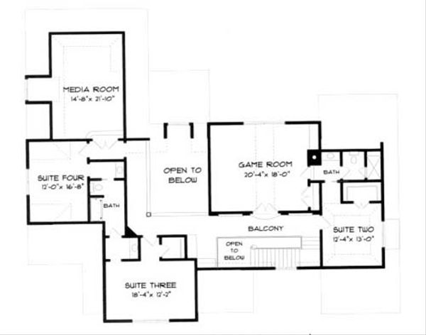 European Floor Plan - Upper Floor Plan Plan #413-123