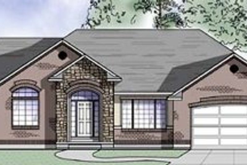Ranch Style House Plan - 2 Beds 2.5 Baths 1880 Sq/Ft Plan #5-120 Exterior - Front Elevation