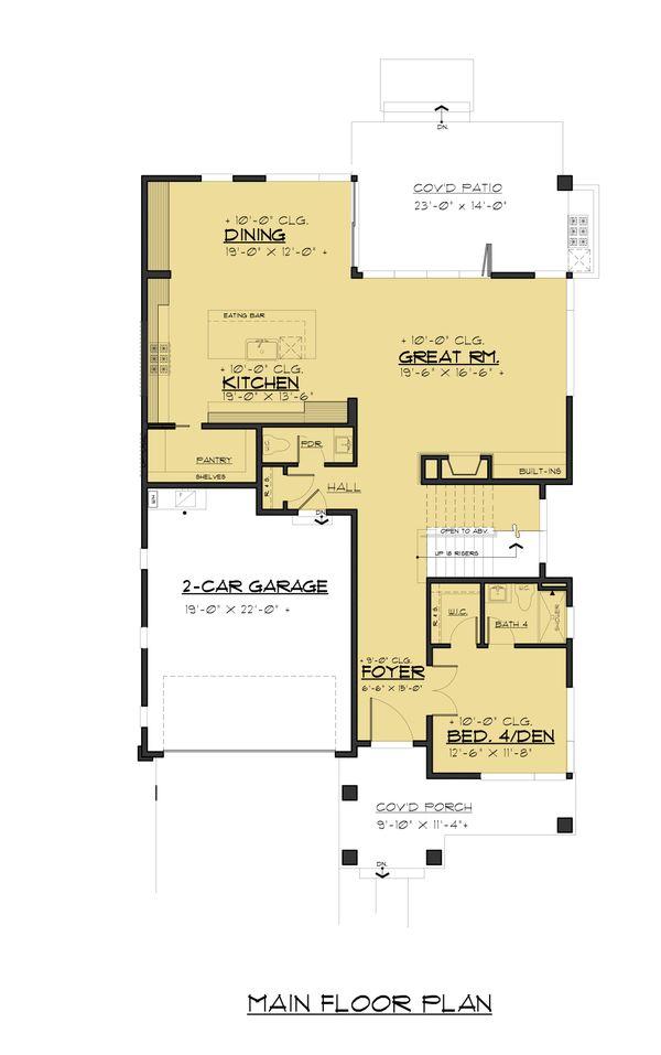 Contemporary Floor Plan - Main Floor Plan Plan #1066-91