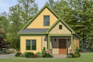 Cabin Exterior - Front Elevation Plan #932-17