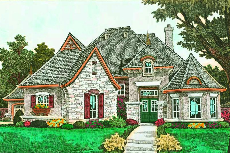 European Exterior - Front Elevation Plan #310-1293