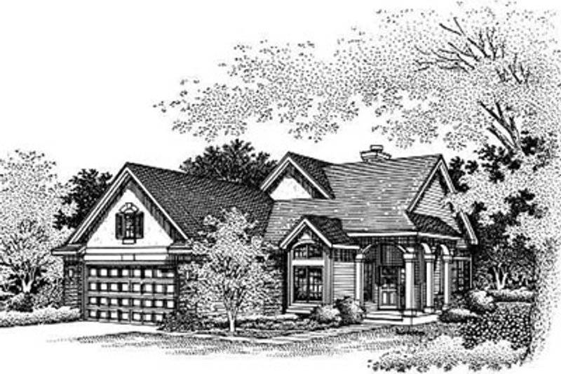 Traditional Style House Plan - 3 Beds 2 Baths 1795 Sq/Ft Plan #50-182 Exterior - Front Elevation