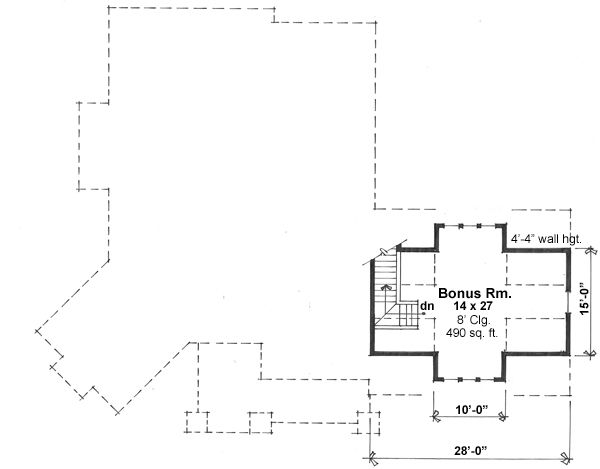 Craftsman style house plan, bonus level floor plan