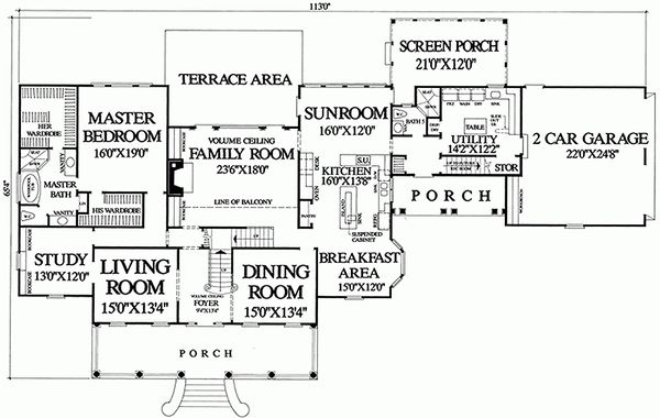Main Level Floor Plan - 4500 square foot Country home