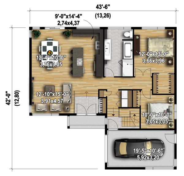 Contemporary Floor Plan - Main Floor Plan Plan #25-4662