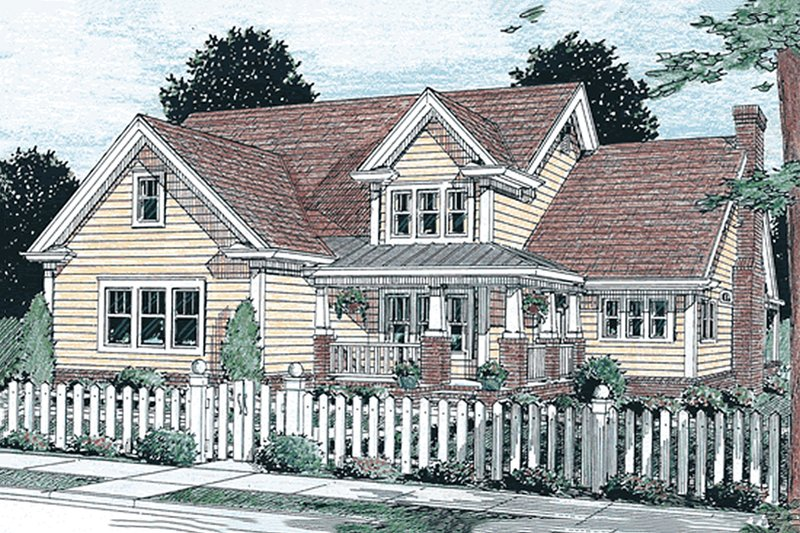 Craftsman Style House Plan - 4 Beds 3.5 Baths 2135 Sq/Ft Plan #20-355 Exterior - Front Elevation