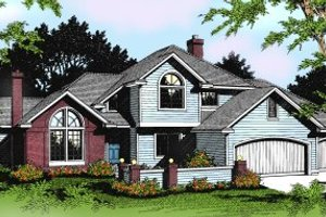 Colonial Exterior - Front Elevation Plan #88-201
