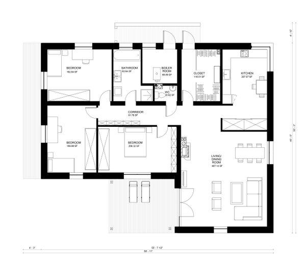 Contemporary Floor Plan - Main Floor Plan Plan #906-15