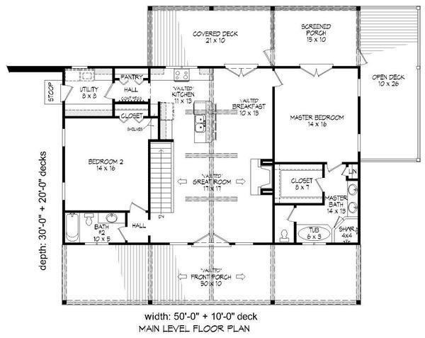 Country Floor Plan - Main Floor Plan Plan #932-15