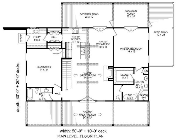 Country Floor Plan - Main Floor Plan Plan #932-15