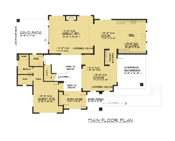 Contemporary Floor Plan - Main Floor Plan Plan #1066-62