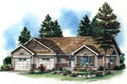 Ranch Style House Plan - 2 Beds 2 Baths 1265 Sq/Ft Plan #18-1022 Exterior - Front Elevation