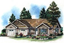 House Blueprint - Ranch Exterior - Front Elevation Plan #18-1022