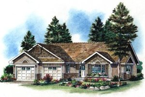 Ranch Exterior - Front Elevation Plan #18-1022