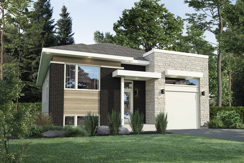 Contemporary Style House Plan - 3 Beds 1 Baths 1231 Sq/Ft Plan #25-4878 Exterior - Front Elevation