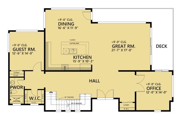 Home Plan - Contemporary Floor Plan - Main Floor Plan #1066-44