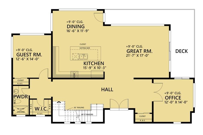 Contemporary Floor Plan - Main Floor Plan Plan #1066-44