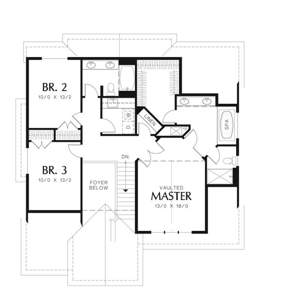 Traditional Floor Plan - Upper Floor Plan Plan #48-554