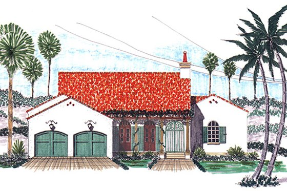 Adobe / Southwestern Exterior - Front Elevation Plan #76-102