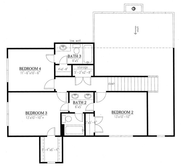 Traditional Floor Plan - Upper Floor Plan Plan #437-84