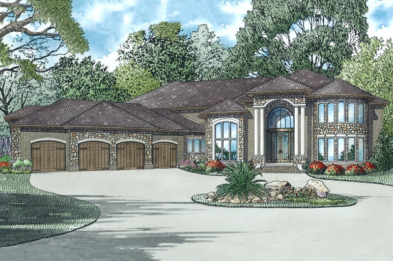 European Style House Plan - 6 Beds 7.5 Baths 8454 Sq/Ft Plan #17-2572 Exterior - Front Elevation